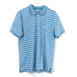 BROOKS BROTHERS Blue Stripe Short Sleeve Polo